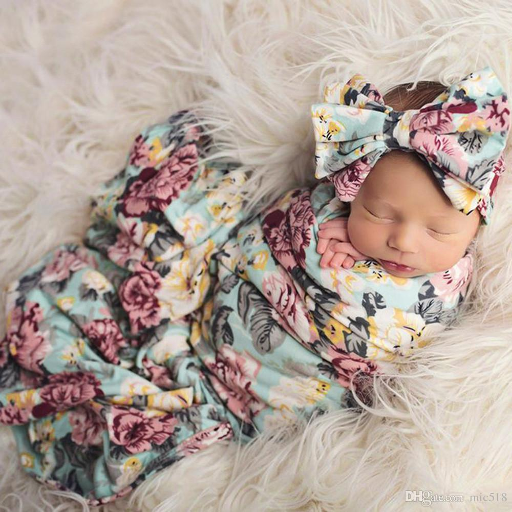 Newborn Baby Boy Girl Infant Floral Swaddle Wrap Headband Swaddling
