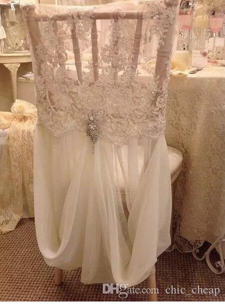 Enlace para la funda de la silla Romántica Hermosa y barata Encaje de gasa Imagen real Silla Fajas de colores Suministros de boda A01