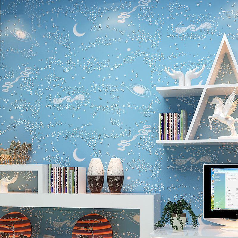 Großhandel Star Sky Wallpaper Kinderzimmer Schlafzimmer 3d Stereoskopischen Blue Stars Moon Vliestapete Cartoon Kinderzimmer Wandpapierrolle Von Hotseller1, ...