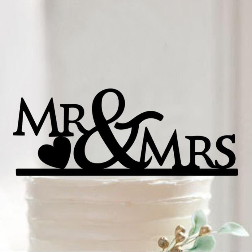 2019 Wholesale Wedding Cake Topper Acrylic Silhouette Letter Mr