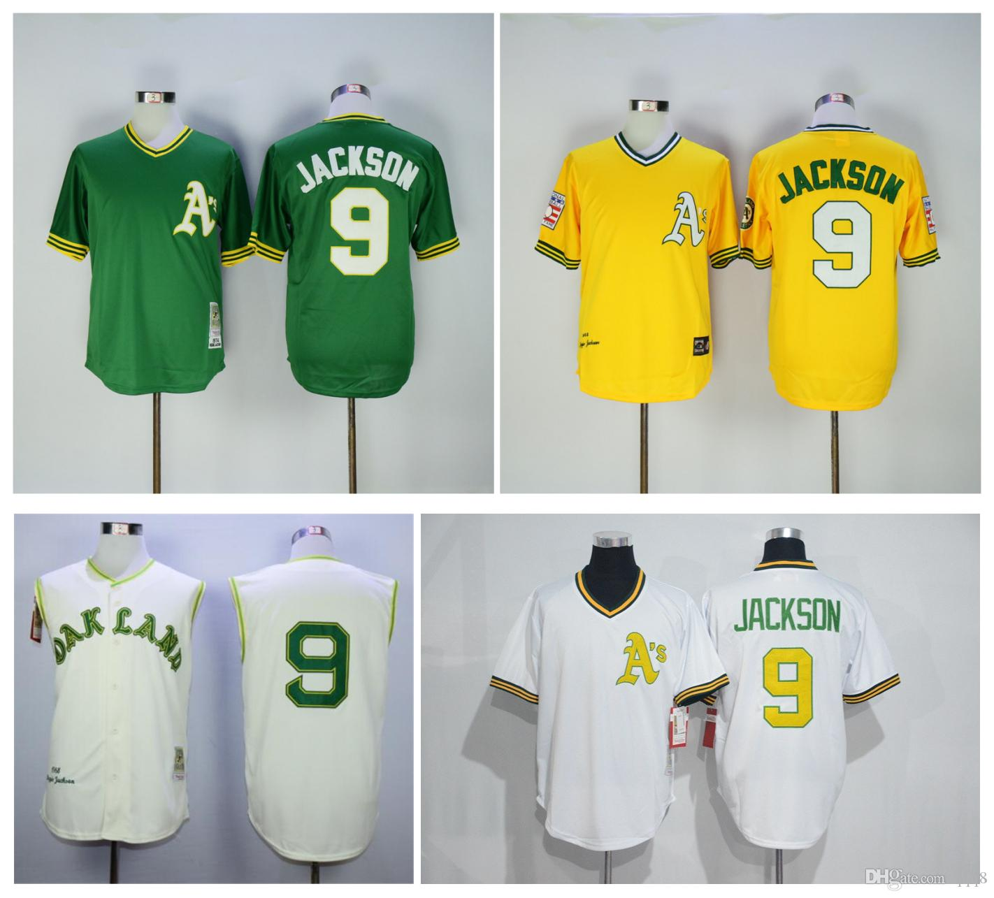 size 40 7c675 c61da oakland athletics 9 reggie jackson 1968 yellow throwback jersey