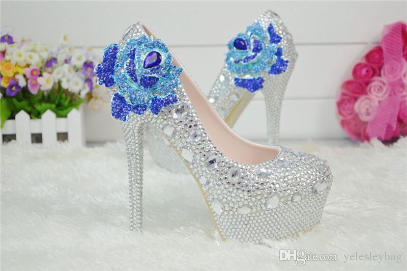 Ayak Bileği Sapanlar ile beyaz Gelin Gelinlik Ayakkabı Yuvarlak Ayak Kristal Gelin Ayakkabıları Platformu Resmi Elbise Ayakkabı Balo Parti Pompaları