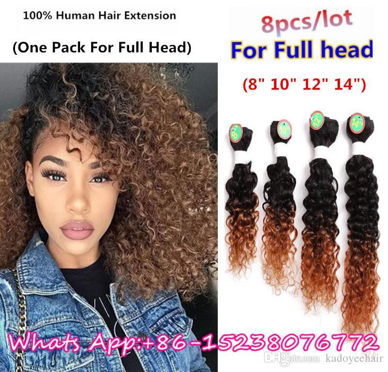 Hot Sell Pack For Full Head Black Blonde Brazilian Kinky Curly
