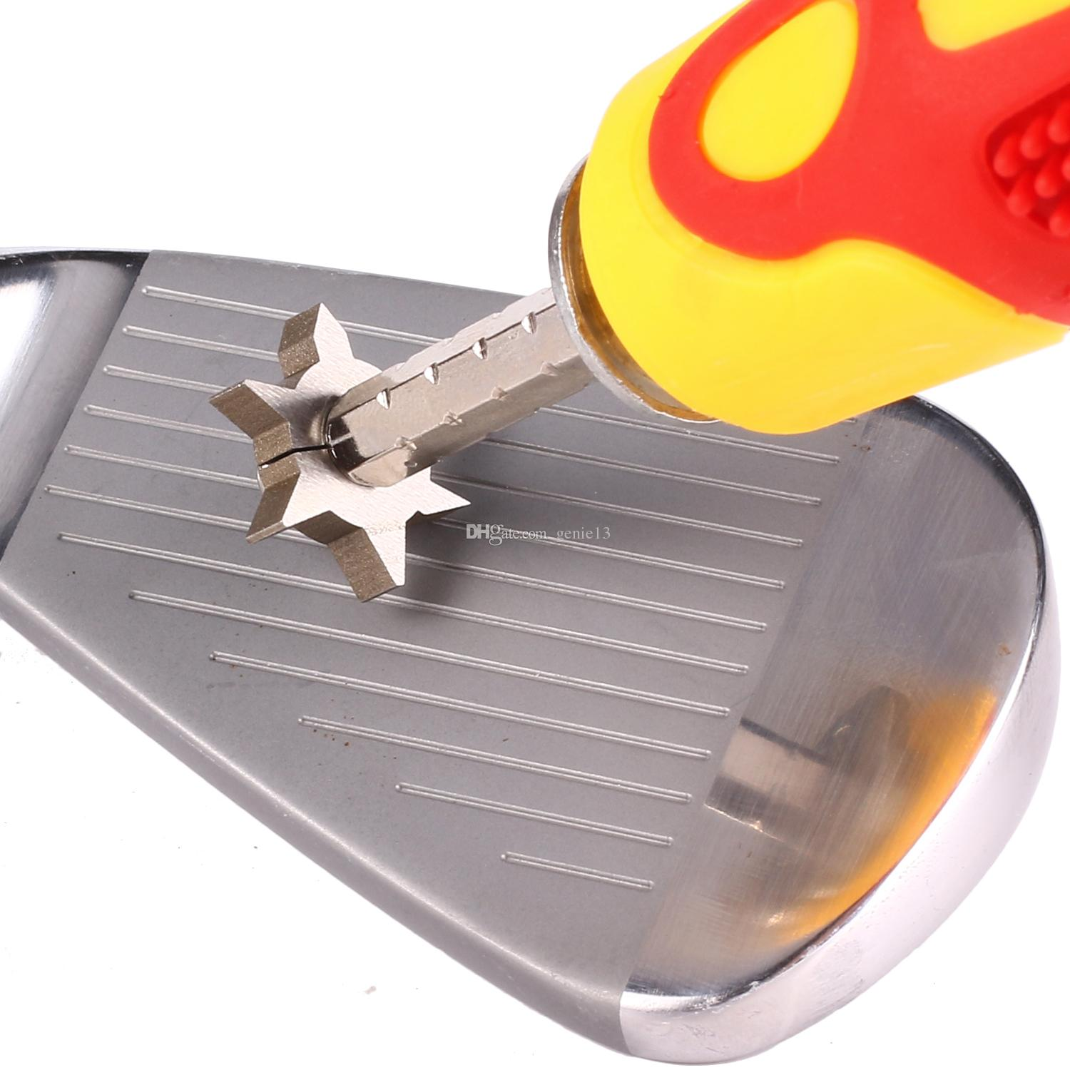 GrooveMaster Adjustable Golf Club Groove Sharpener with Comfortable Large Rubber Grip and 6 Cutter Carbide Tungsten Steel Head