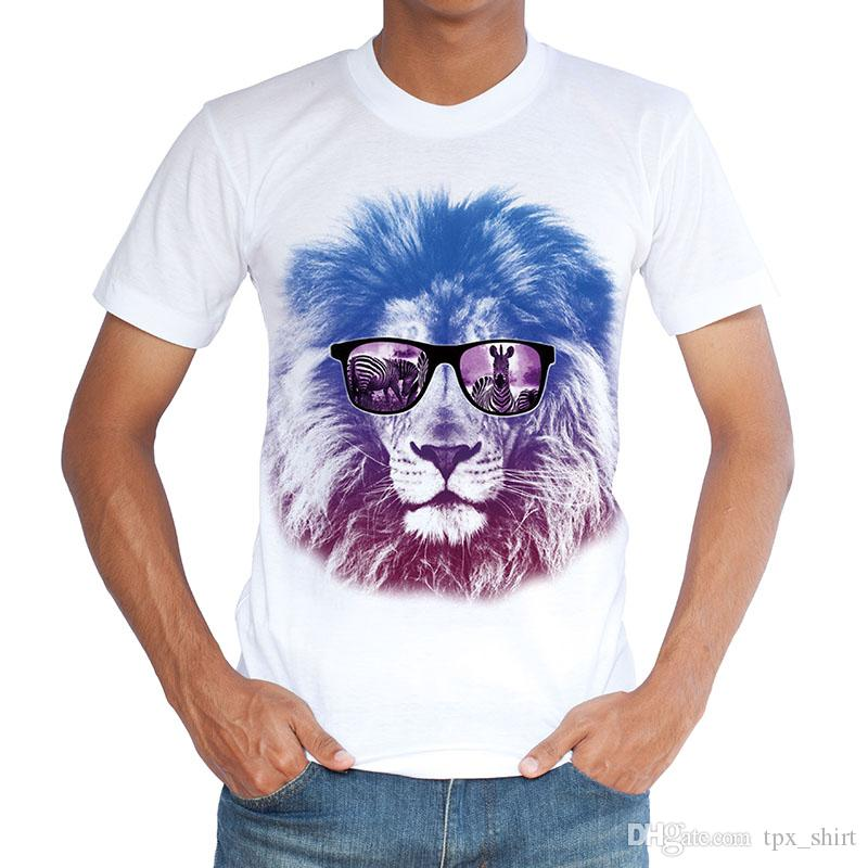 Glass lion T shirt Food zebra short sleeve gown Anti wrinkle white tees Leisure printing clothing Quality cotton Tshirt
