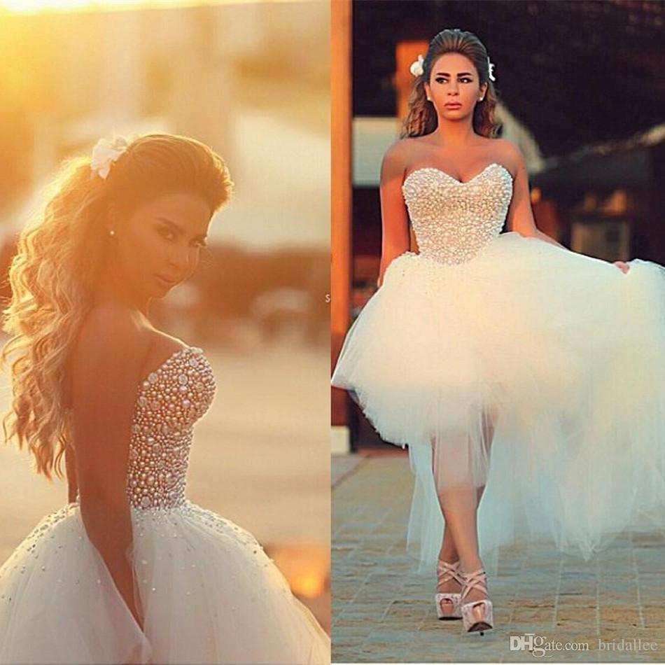 Robes de mariée à l'arrière à l'avant court 2017 cristaux de diamants tulle chérie col haut bas robes de mariée vestidos de noiva