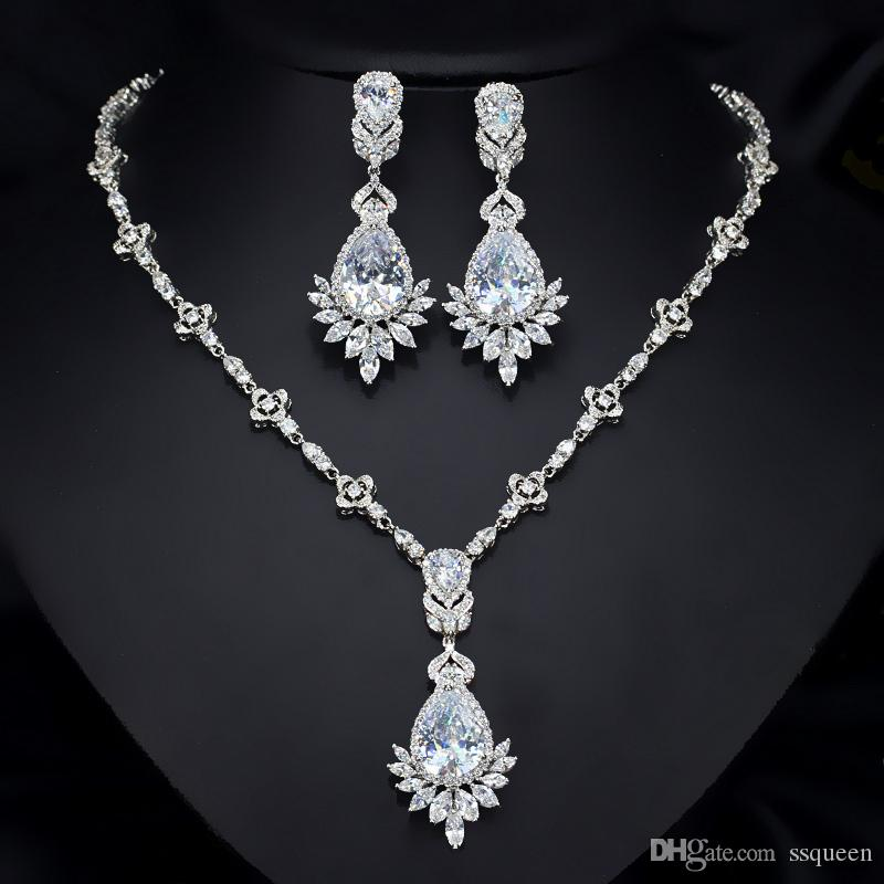 Top grade 18k white gold plated brilliant CZ diamond Queen wedding necklace earring bridal jewelry set