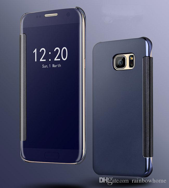 Mirror View Leather Chrome Flip Smart Case Electroplate plated Wallet Cover for iphone X 8 7 6S Plus Galaxy S9 S8 Plus