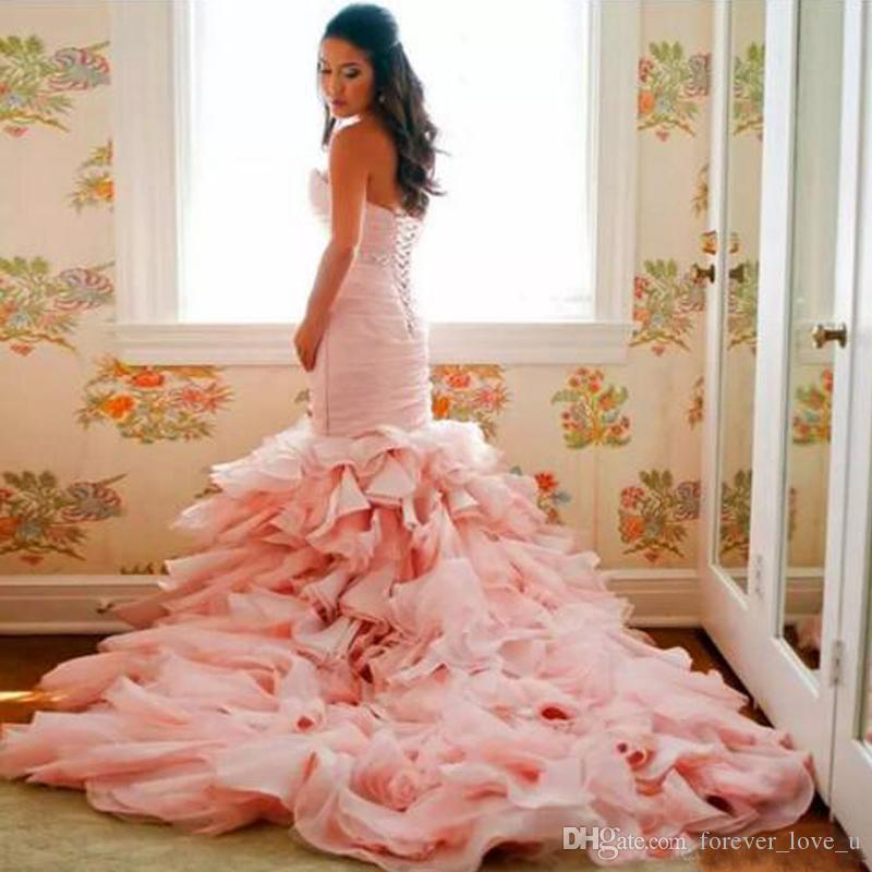 Gorgeous Pink Mermaid Wedding Dress Plus Size Sweetheart Corset Back ...
