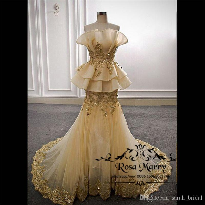 Gold Vintage Lace Peplum mermaid Evening Dresses 2018 Nigerian Lace Styles Plus Size Ruffles Red Carpet Yousef Aljasmi Celebrity Party Gowns
