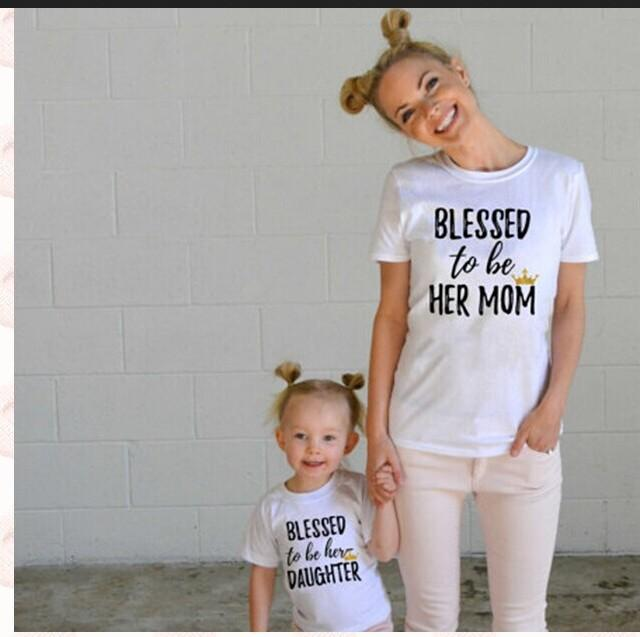 9d941cb931f2a6 Família Roupas Combinando Conjunto Mãe T-shirt Do Bebê T Shirt Mãe e Filha  Tee