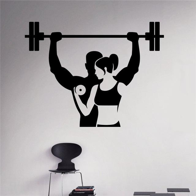 fitness wall decal workout gym vinyl sticker healthy lifestyle home
