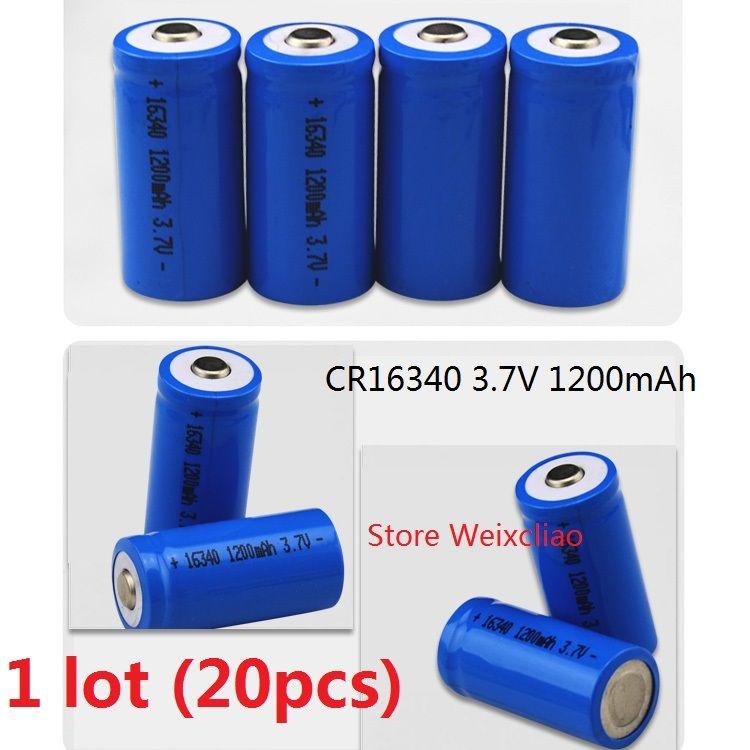 20 قطع 1 وحدة 16340 cr123a 3.7 فولت 1200 مللي أمبير بطارية ليثيوم أيون قابلة 3.7 فولت بطاريات ليثيوم أيون مجانية
