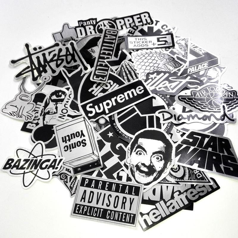 Car stickers mixed 55 design graffiti black white decal cover anti scratch uv water for body light brow front back door bumper etc sticker car sticker decal