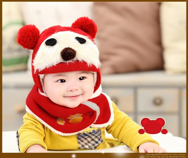 Cheap Bear Baby Kid's Knitted Hats Hiphop Bear Kids Beanies Fashion Caps Winter Warm Cap Street Baby