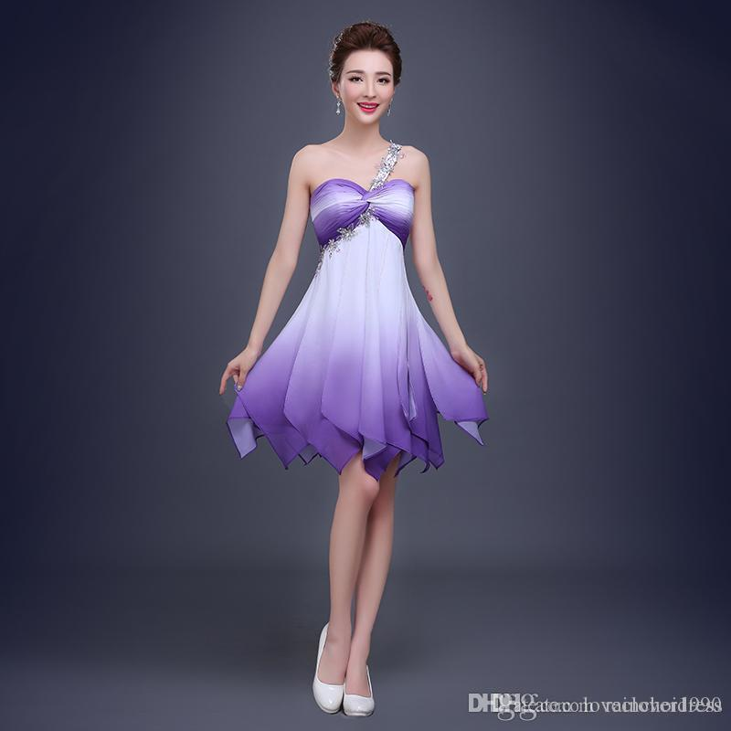 Compre Nueva Sexy Alta Calidad Simple Sexy Lavender Vestidos De ...