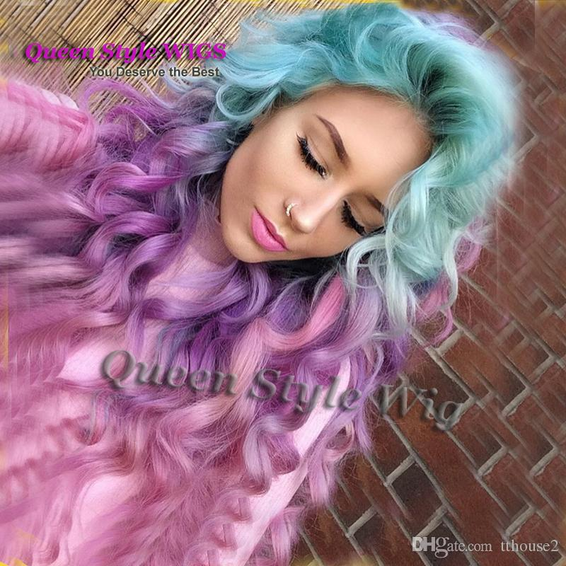 Sexy unicorn Colorful Mermaid Style Wig Synthetic Pastel Ice blue ombre purple color Deep Curly Wave Hair None Lace Wig/ Lace Front Wig