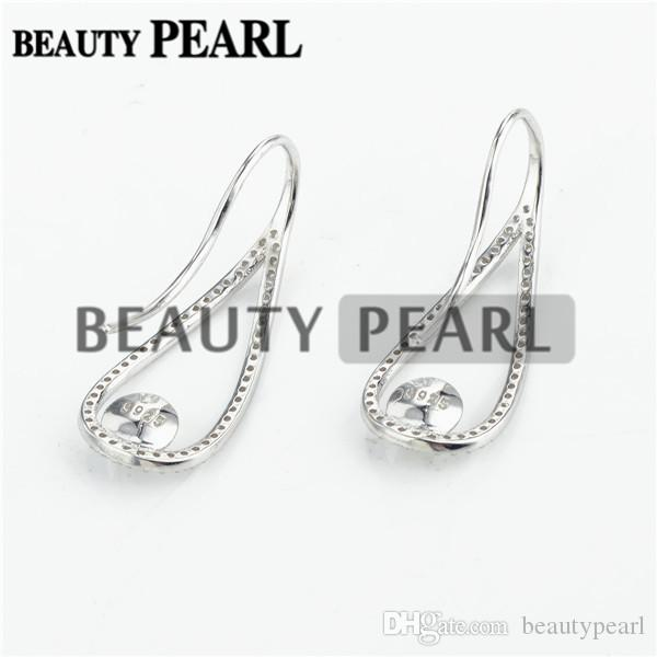 Ear Wire Cubic Zirconia Paved 925 Sterling Silver Earrings Blank Base Pearl Jewellery Findings