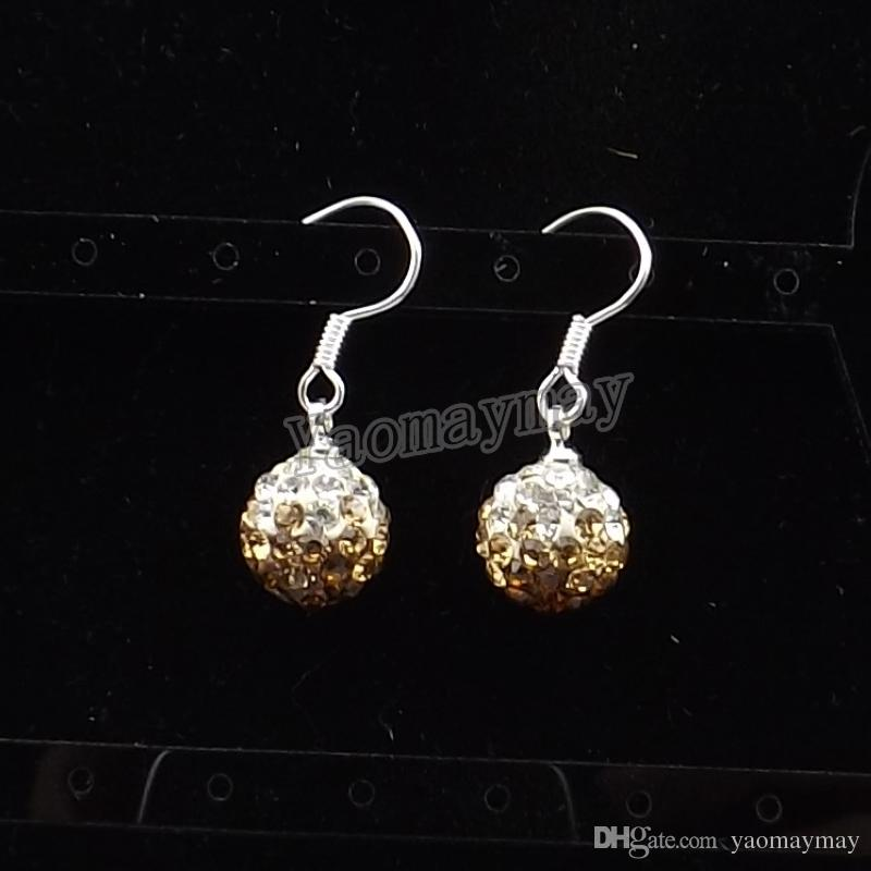 8 Gradient Colors 10mm Crystal Disco Ball Earrings Silver Plated Earring Hooks