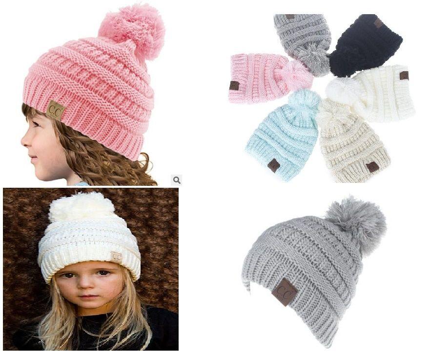 New Hot Sale Children Cute CC Hats Winter Knit Hats Warm Hoods Skulls  Hooded Hats Hoods Cloche Hat Crochet Hats From Wangrong19850212 9c641450c32