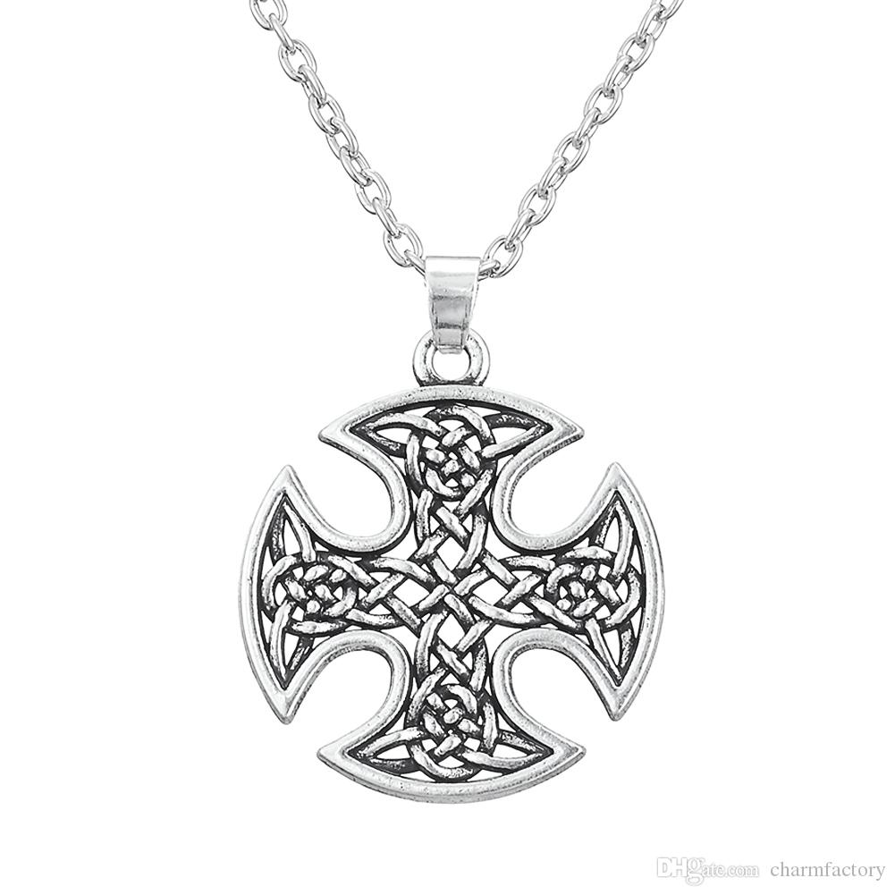 Religious Style KnotWork CROSS Wiccan Necklace Pagan Jewelry Charm Pendant Necklace