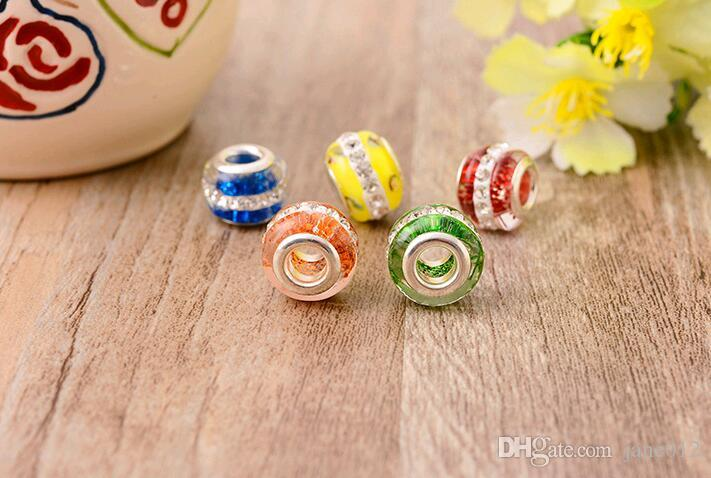Prime Clay Paved Crystal Rhinestone Loose Beads Big Hole 14mm Stocks for DIY Jewelry Making Europe Bracelet fittings