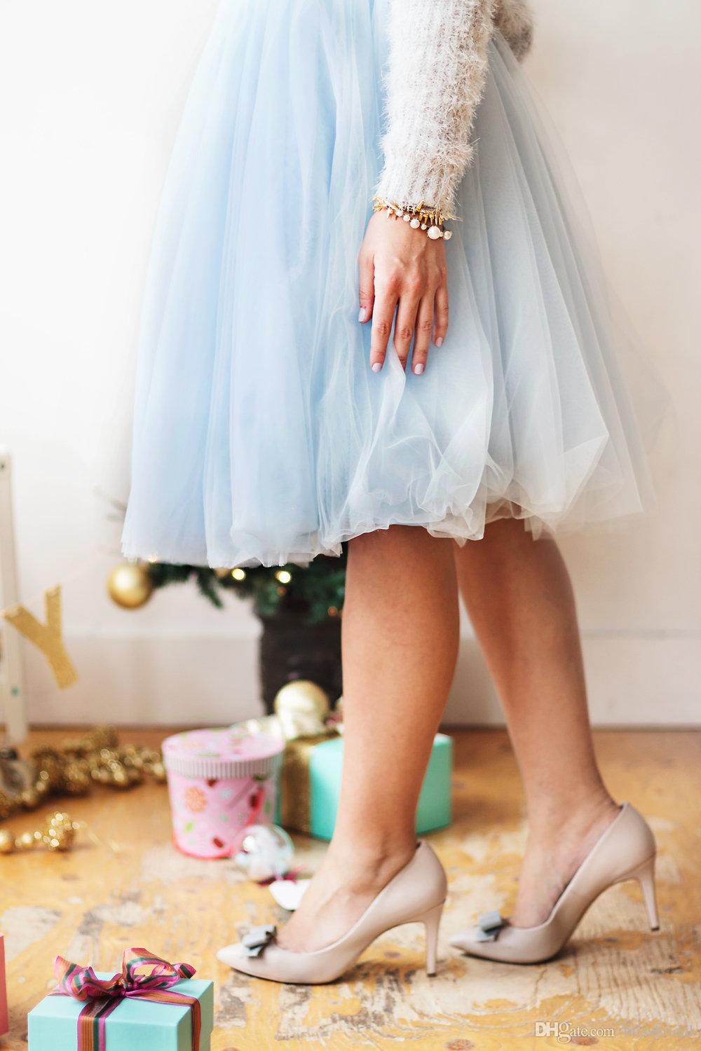 Bridesmaid High Fashion Tulle Skirts Custom Made Knee Length Long Skirt Women midi Party Skirt