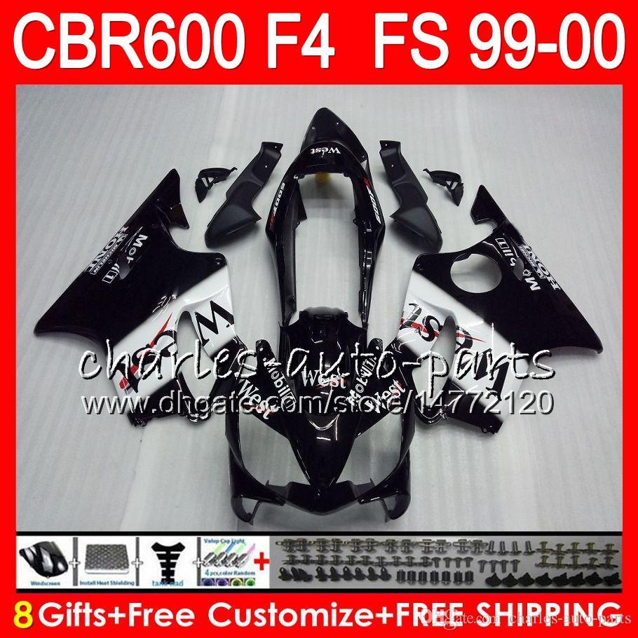 8Gifts Carrosserie Pour HONDA CBR 600 F4 99-00 CBR600FS FS 30HM4 Noir Ouest CBR600 F4 1999 2000 CBR 600F4 CBR600F4 99 00 Kit de carénage