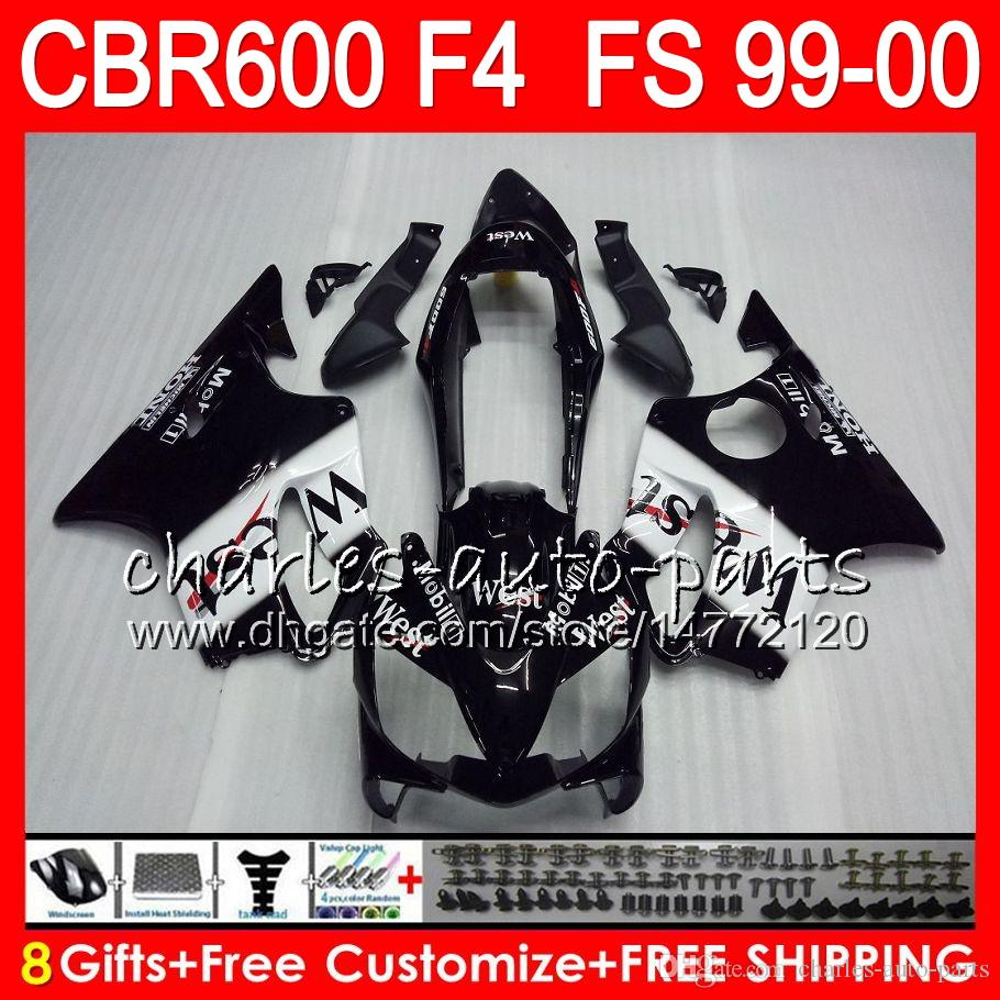 8Presentes Carroçaria Para HONDA CBR 600 F4 99-00 CBR600FS FS 30HM4 Preto oeste CBR600 F4 1999 2000 CBR 600F4 CBR600F4 99 00 Kit Carenagem