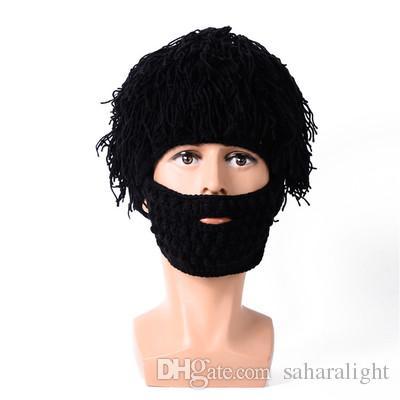 6bfe3ada044 2019 Wig Beard Hats Hobo Mad Scientist Caveman Handmade Knit Warm ...