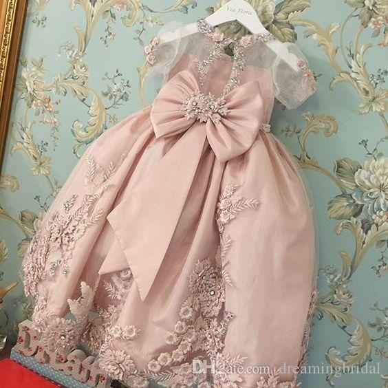 Rosa Flügelärmeln Ballkleid Blumenmädchenkleider Jewel Neck Knöchellangen Mädchenkleider Für Brautkleider Organza Kinder Abendkleider