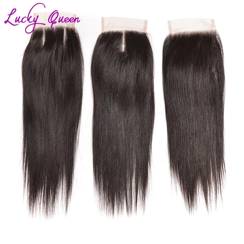 8A Peruvian Straight Virgin Hair With Closure 4 Bundles With Closure Unprocessed Human Hair Weave With Closures Lucky Queen Hair Product