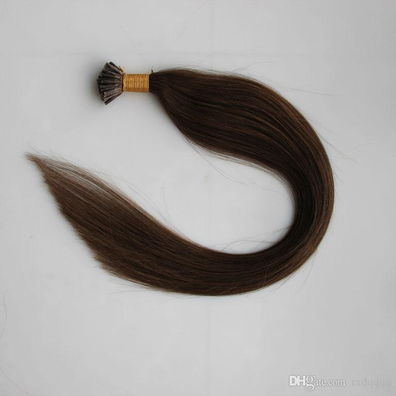 #6 Medium Brown I tip hair extensions 50g indian fusion human hair pre bonded i-tip