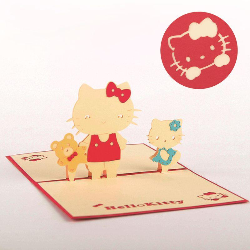 3d Luxury Handmade Gift Cards 3d Stereo Pop Up Cute Hello Kitty