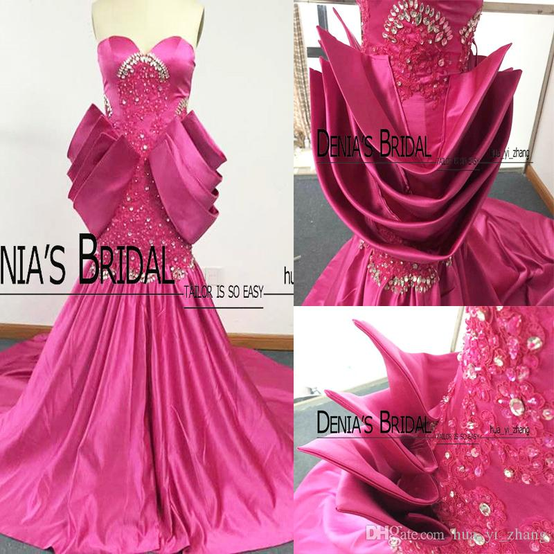 2017 Real Images Prom Dresses Sweetheart Peplum Beaded Lace with Long Train Zipper Back Evening Gowns