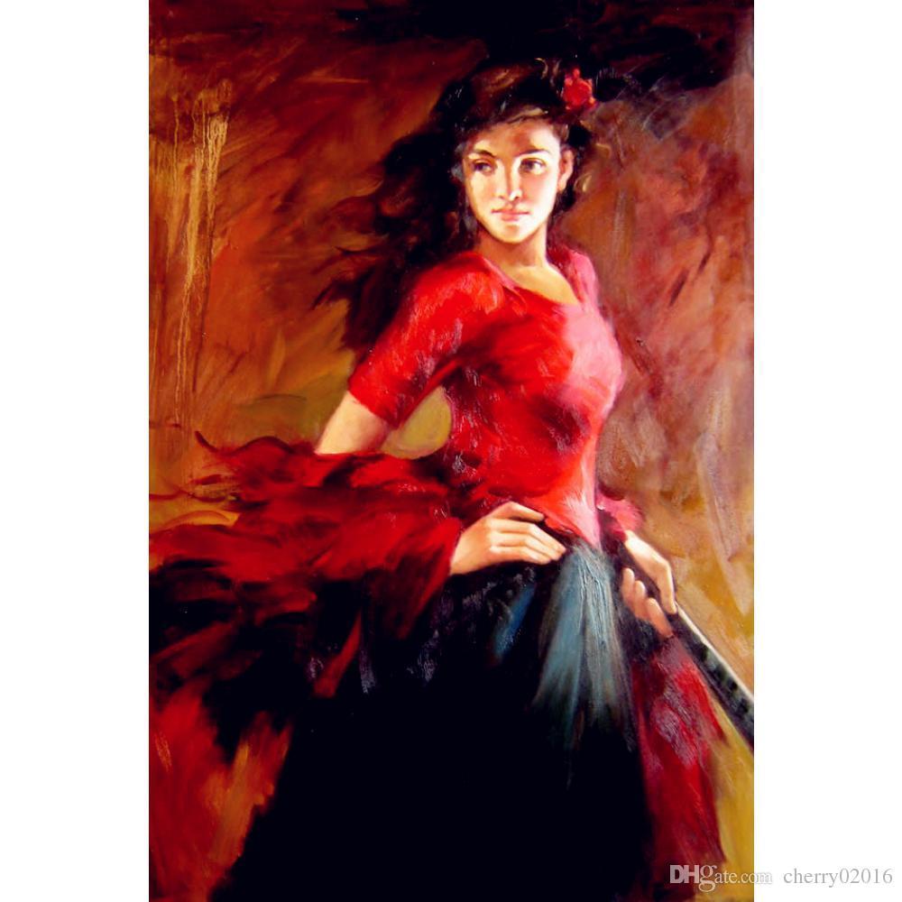 Acheter Tableaux Peintures Femme Espagnol Danseuse Danseuse De Flamenco Decoration  Murale Peint De $102.52 Du Cherry02016 | DHgate.Com