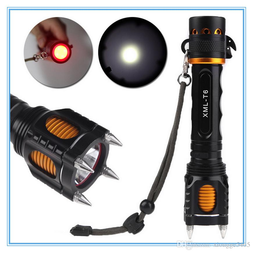 2000lm High Quality Xm-l T6 Led Flashlight Torch Four Attack Head Audible Alarm Lampe Torche Waterproof Flash Light Self Defense Led Lighting Lights & Lighting