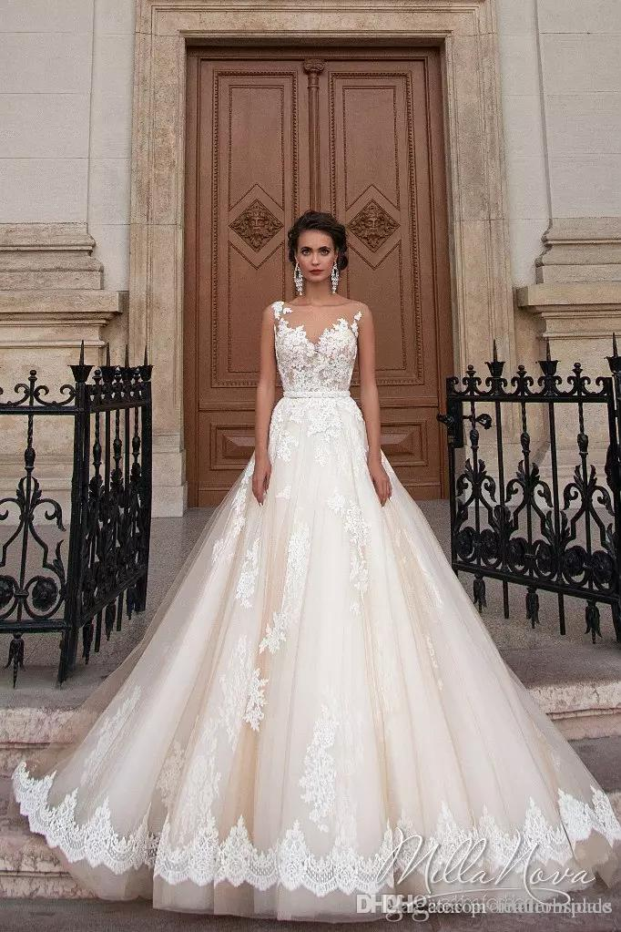 Compre Vintage Árabe Princesa Milla Nova Vestidos De Novia De Encaje ...