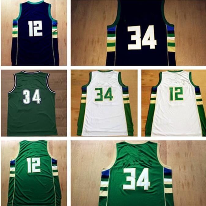 the best attitude c6a55 03838 New Hot Sale Men's 34# Giannis Antetokounmpo Jersey #12 Jabari Parker #34  Ray Allen Basketball Jerseys Embroidery Logos White Green Black