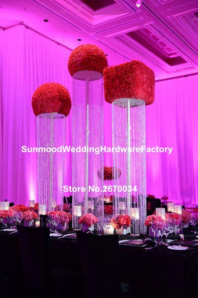 Düğün dekorasyon akrilik kristal vazo, düğün dekor için çiçek vazo standı