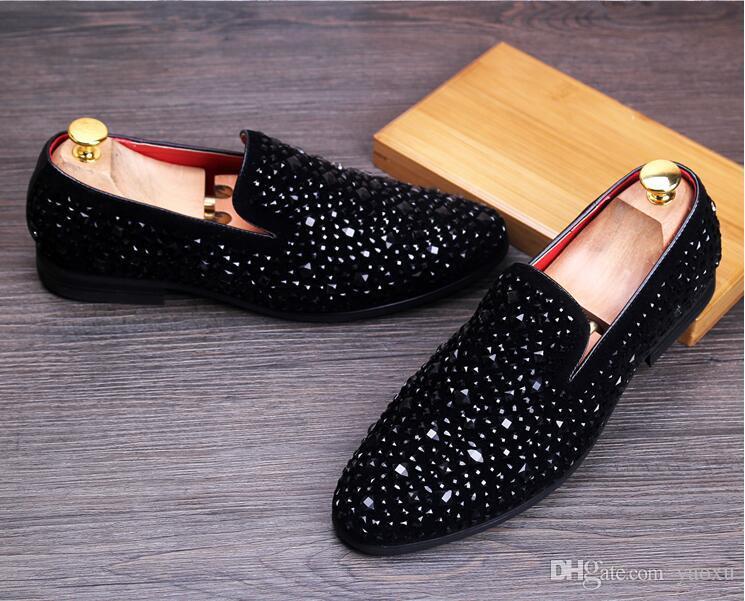 Beiläufige mehrfarbige Glitter Sequin Loafers Mens Dress Schuhe Männer Wohnungen Schuhe Luxury Fashion Brand Chaussures De Mariage