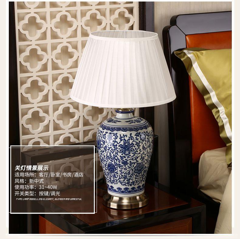 Lampade da tavolo a LED in porcellana bianca e blu dimmerabile Lampada da tavolo cinese a fiore cemarica cinese Lampada da tavolo a casa