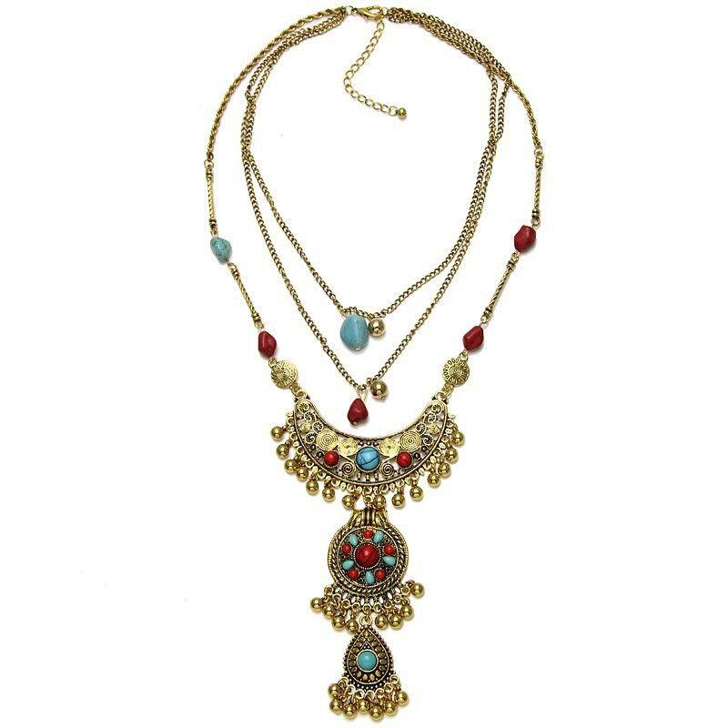 e7bbf9910883 Para mujer de la aleación de la vendimia de plata   oro Color largo Boho  collar étnico tribal Boho collar geometría turquesa perlas borla collar  llamativo