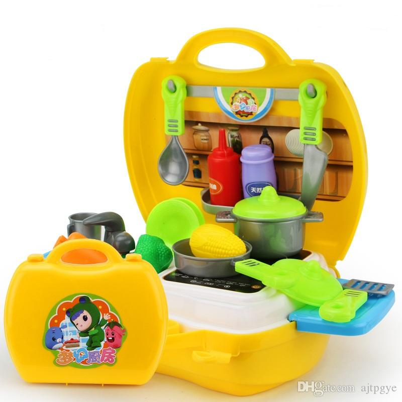2017 kitchen playset toy kids pretend cooking food set with