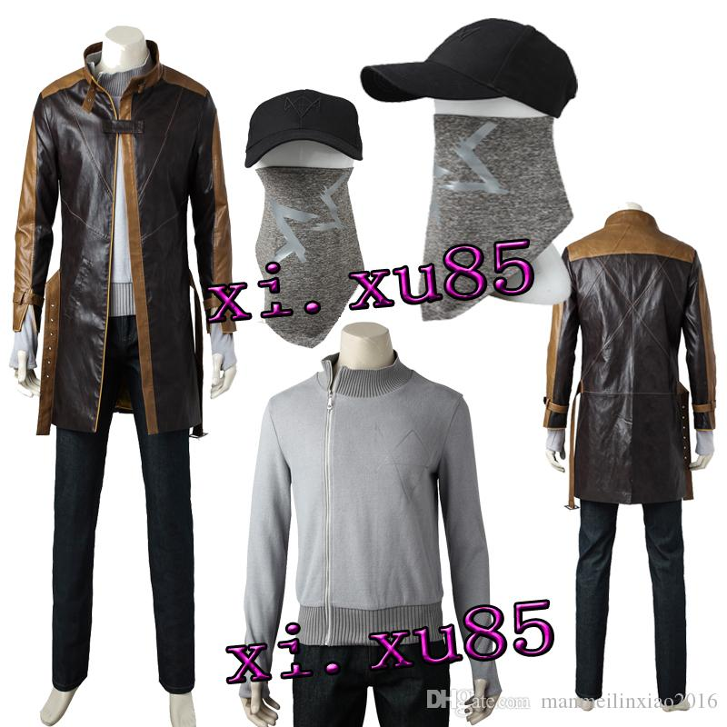 Watch Dogs Cos Aiden Pearce Cosplay Costume Outfit Hat Mask All Size