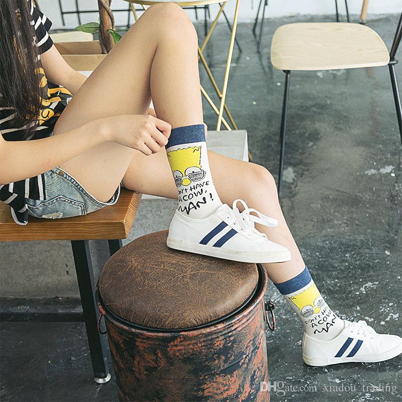 9ea10a0b8 2019 Fashion Simpson Couple Knee High Japan And South Korea Street Trend  Sports Cotton Socks Harajuku Ulzzang Socks From Xiadou trading