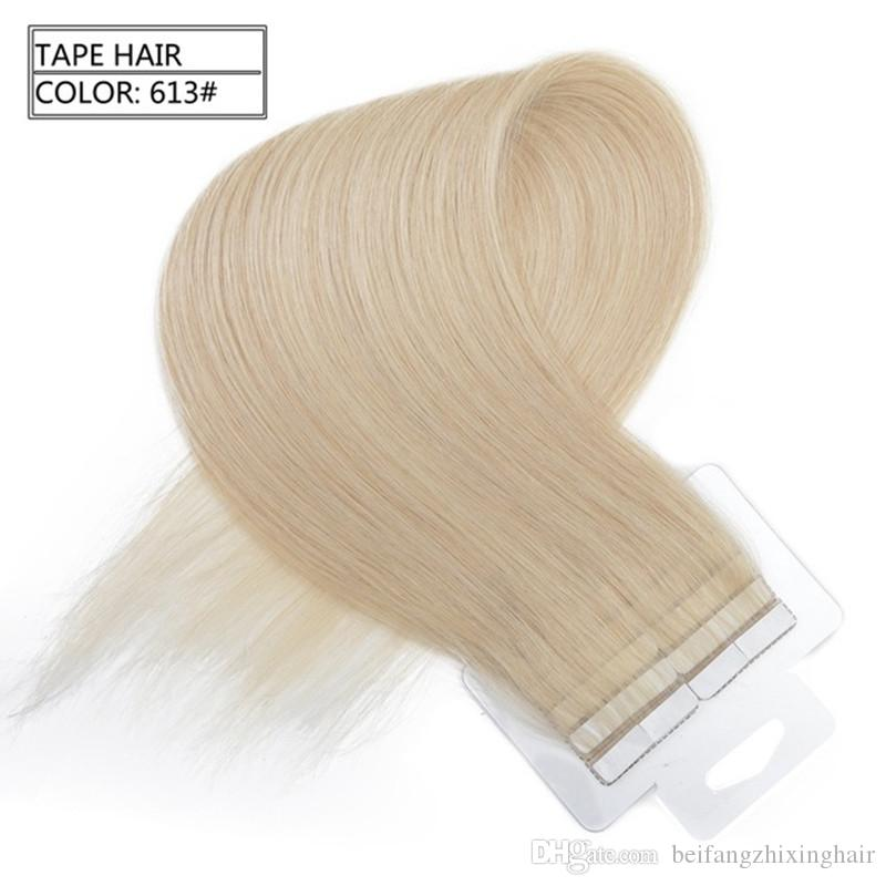 Grade 7A-- &2.5g piecs Tape In Hair Extensions Remy Brazilian Straight Hair 100% Human Hair Skin Weft #1b 2 4 613 60, Free Dhl