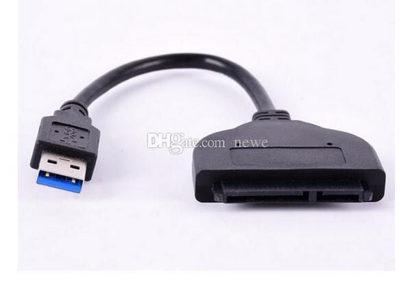 Black Networking Computer Cables Connectors Super Speed USB 3.0 To SATA 22 Pin 2.5 Inch Hard Disk Driver SSD Adapter Cable Converter