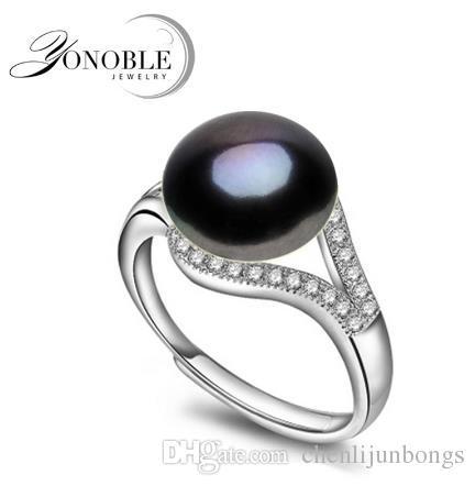 Anneaux de perle naturelle 9-10mm d'eau douce de mariage noir anneaux pour les femmes bague réglable 925 argent bijoux fille engagement cadeau d'anniversaire
