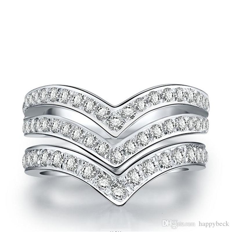 우수한 더블 V 모양 합성 다이아몬드 여성 약혼 반지 솔리드 925 스털링 실버 화이트 골드 커버 결혼 기념일 반지